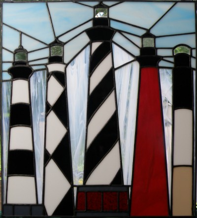 North Carolina Lighthouse Stained Glass Window Panel