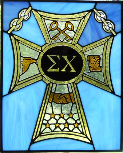 Sigma Chi Fraterity Badge Stained Glass Panel